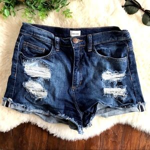 Sneak Peek Destroyed Denim High Waist Shorts